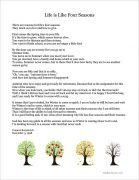 Life-is-Like-Four-Seasons Poem illustrated with trees of four seasons.
