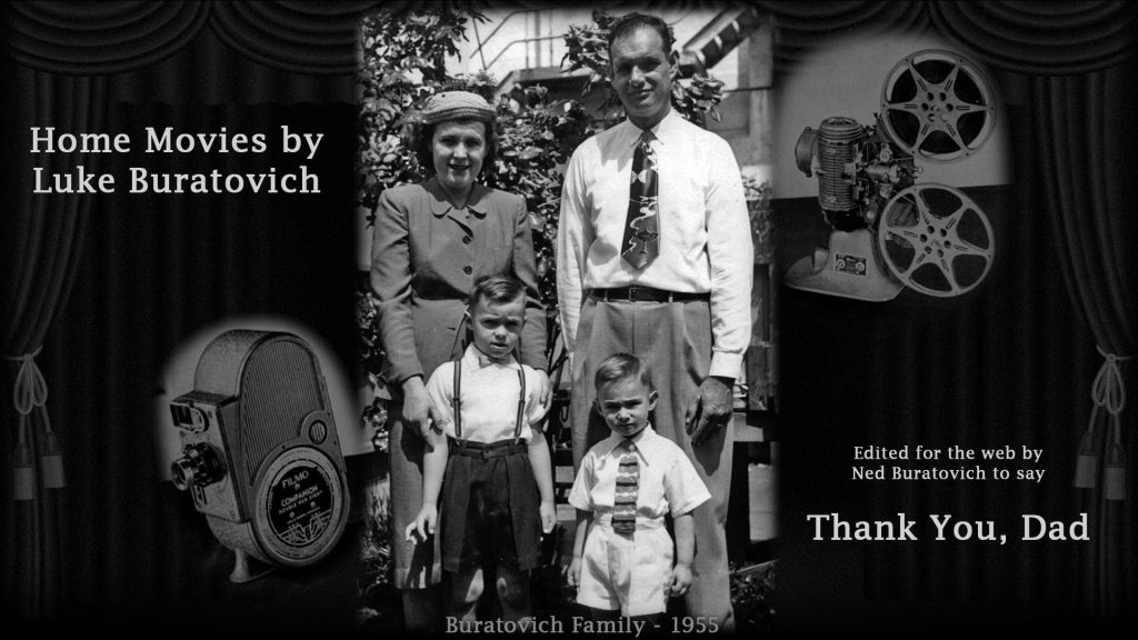 "Video ""Credits"" screen image showing Buratovich family portrait from 1955 with B&H 8mm camera to the left and B&H 8mm film projector on the right."