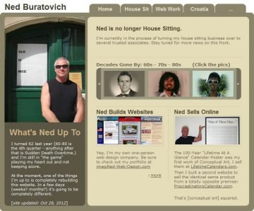 NedBuratovich.com screenshot of home page 2012