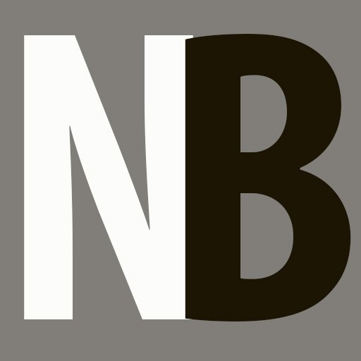 Gray square containing initials NB, N in white, B in black.