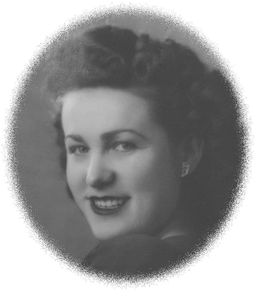 Oval cameo studio photo of Frances 1940s style hair and lipstick