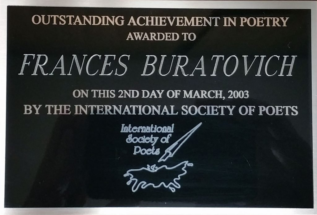 Outstanding achievement in poetry awarded to Frances Buratovich