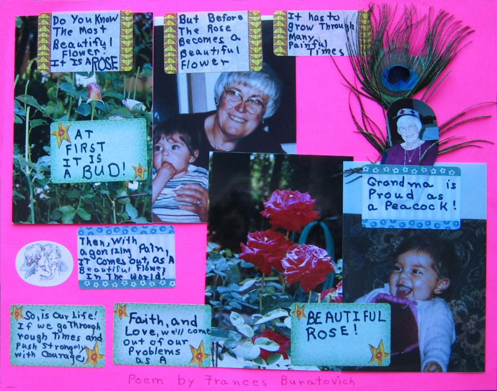 Posterboard presentation of mom's The Rose poem with photos of mom, roses, and verses from the poem.