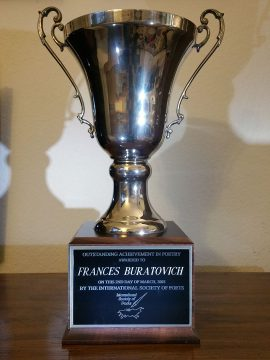 Trophy awarded to Frances Buratovich for poetry.