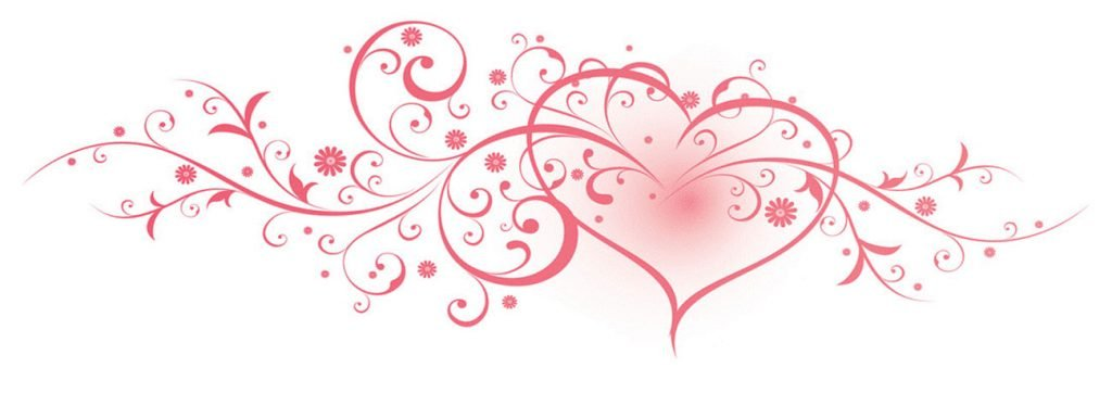 Illustration of stylized heart with swirly frills