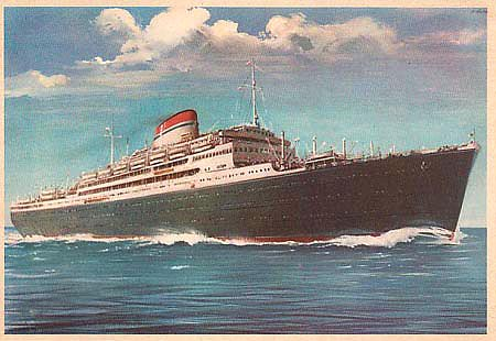 old color postcard photo of ocean liner Vulcania