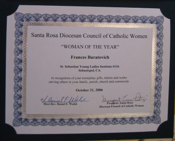 Woman of the Year certificate for Frances Buratovich awarded by Santa Rosa Diocese