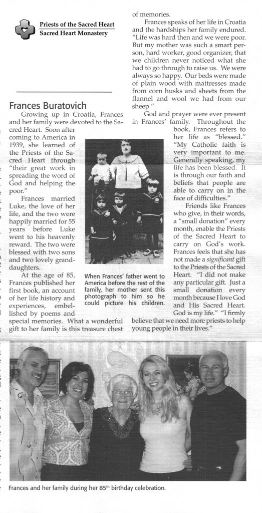 News clipping on Frances' charitable donations