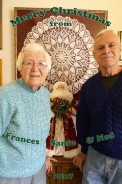 2017 Christmas card from Frances, Santa and Ned