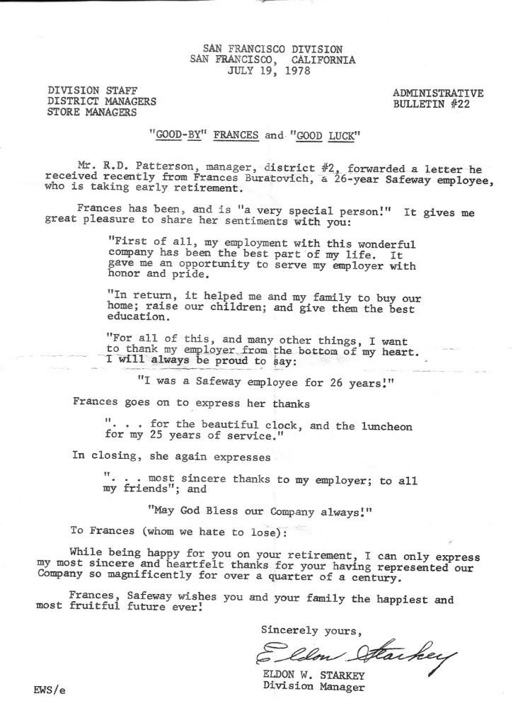 Photocopy of document, retirement letter.