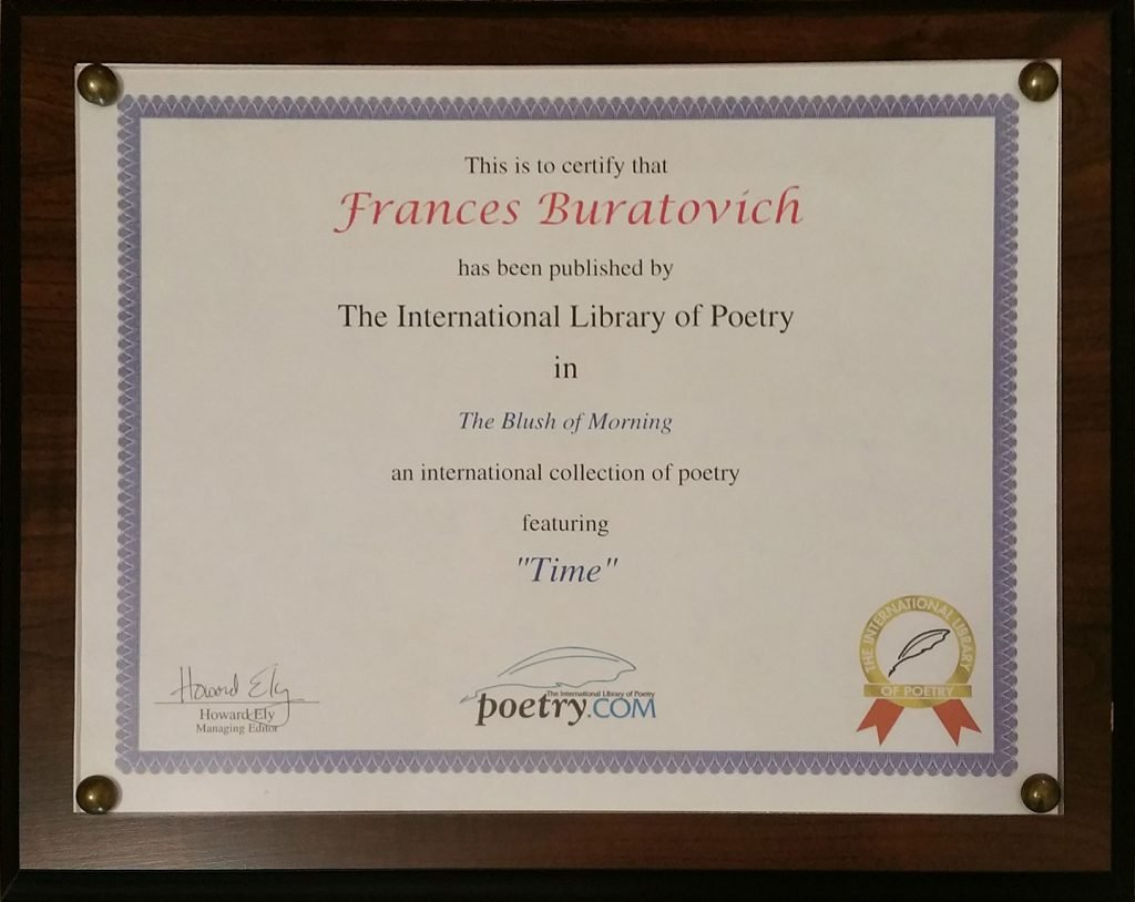 Publication certificate for Frances' poem, Time