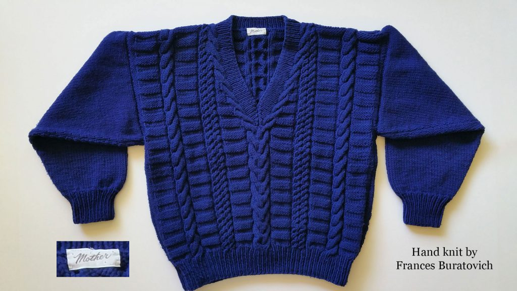 Deep blue V-neck knit sweater