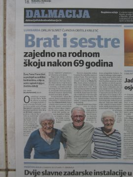 Clipping from Croatian language paper on three siblings together at birth home, first time in 69 years